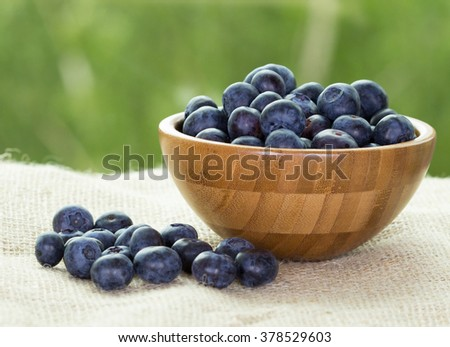 Blueberries in a wooden bowl on canvas. Healthy food concept - stock photo
