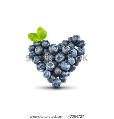 Blueberries in heart shape, isolated - stock photo
