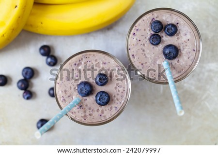 Blueberry and banana smoothie - stock photo