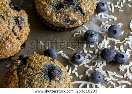 Blueberry Bran Muffins from Above - stock photo