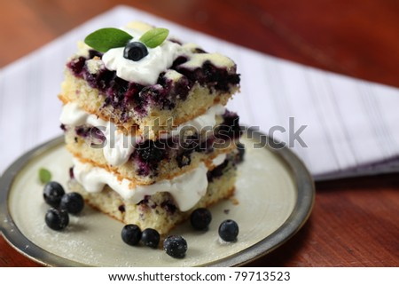 Blueberry cake with whipped cream. Shallow DOF - stock photo