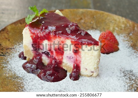 blueberry cheese cake closeup macro shot - stock photo
