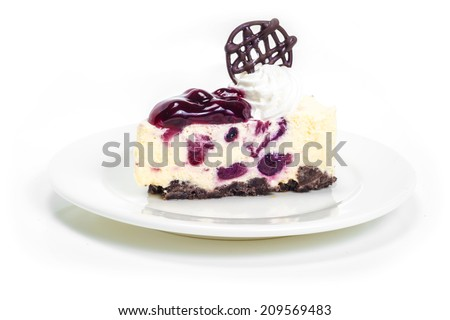 Blueberry cheese mousse in white background - stock photo