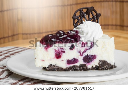 Blueberry-chip cheese mousse cake - stock photo