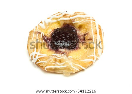 Blueberry Danish Pastry isolated against white background. - stock photo