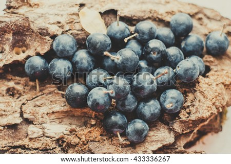 Blueberry on wooden table background. Ripe and juicy fresh picked blueberries closeup. Berries closeup - stock photo