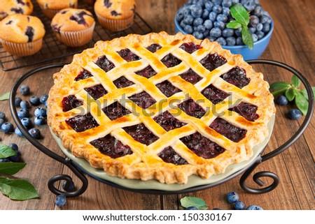 Blueberry pie - stock photo