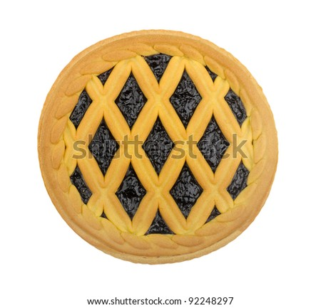 blueberry pie isolated on a white background - stock photo
