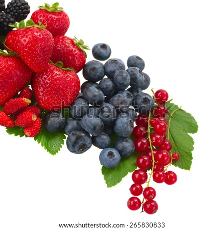 blueberry, red currant and strawberry  with   leaves  isolated on white background - stock photo