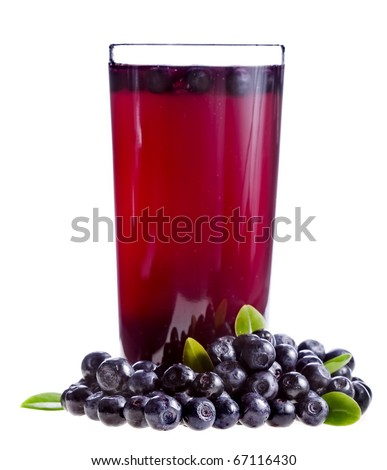 Blueberry tea in glass cups with fresh berries  isolated on white background  - stock photo