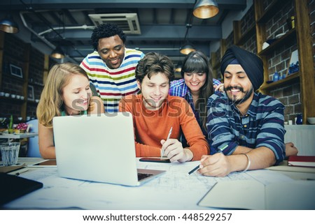 Blueprint Architect Cafe Casual Office Discussion Concept - stock photo