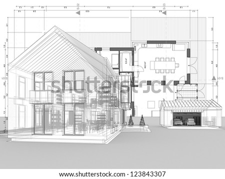 Blueprint, architecture plan and perspective drawing of contemporary house - stock photo
