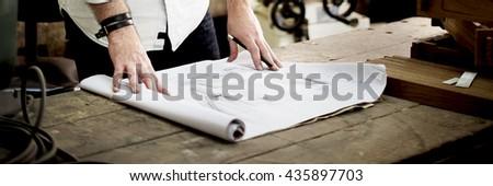 Blueprint Capenter Handicraft Woodwork Draft Concept - stock photo