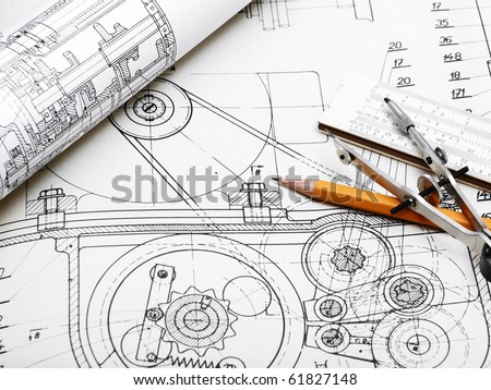 blueprint  detail and drawing tools - stock photo
