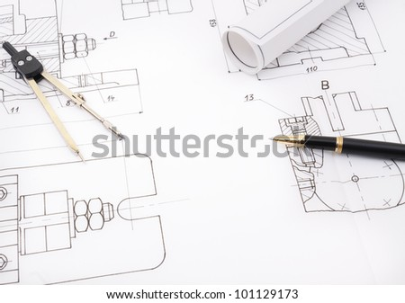 Blueprint drawing of industry detail - stock photo