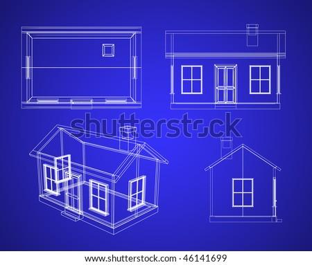 Blueprint house - stock photo