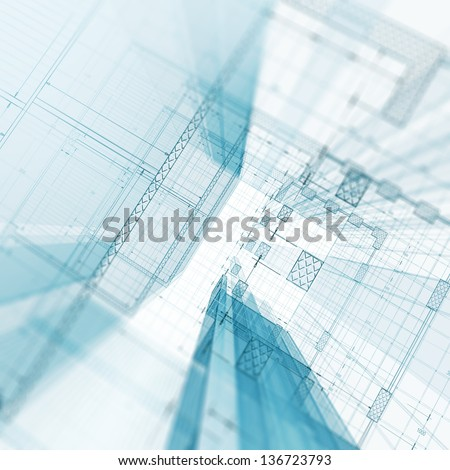 Blueprint. My design and 3d model - stock photo
