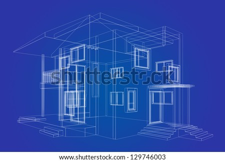 Blueprint project. High quality 3d render - stock photo