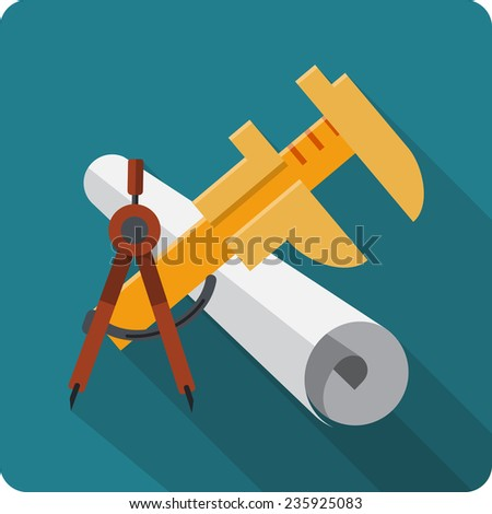 Blueprint Roll of Paper ,Caliper, Engineers Compass - stock photo