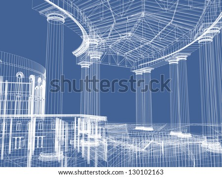 Blueprint sketch - stock photo