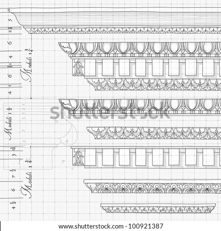 """Blueprint - vintage ornaments - hand draw sketch based """"The Five Orders of Architecture"""" is a book on architecture by Giacomo Barozzi da Vignola from 1593. Bitmap copy my vector - stock photo"""