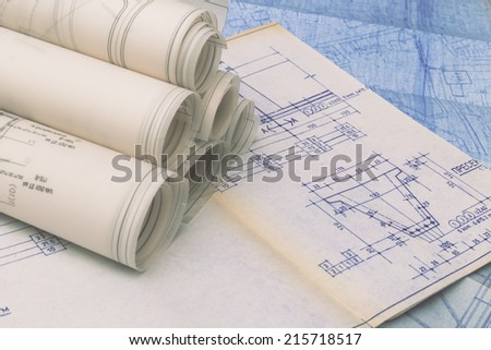 Blueprints Rolls - stock photo