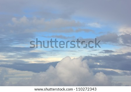 Blues skies with summer clouds - stock photo