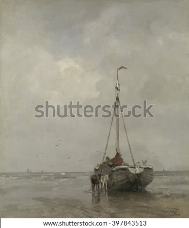Bluff-bowed Fishing Boat on the Beach at Scheveningen, by Jacob Maris, c. 1885, Dutch oil painting. The broad bows was more suited to carrying than sailing. The horses would haul the boat further up t - stock photo