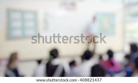 Blur abstract background of teacher teaching students in front of classroom. Blurred instructor speech  in class. Teacher appreciation week day. - stock photo