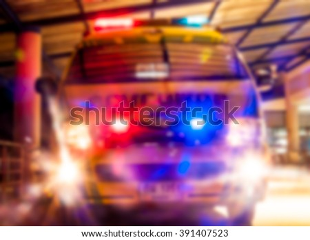 blur background  ambulance use for transfer emergency patient - stock photo