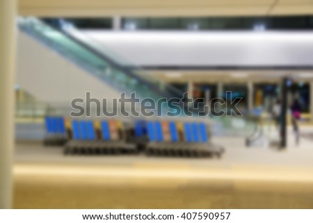 Blur background : Departure hall  in an International Airport - stock photo