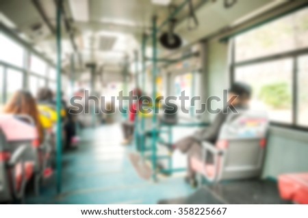 Blur background image of Public bus with passengers at Busan, Korea. - stock photo