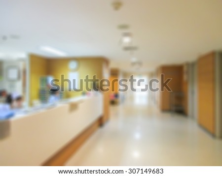 blur background : nurse working room in hospital. - stock photo