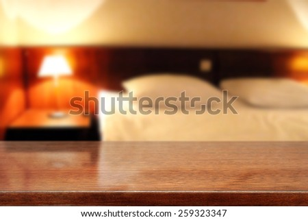 blur background of hotel room and brown furniture space  - stock photo