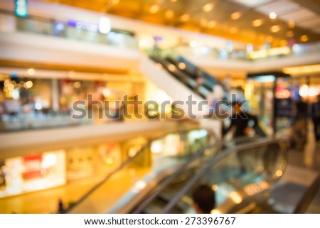 Blur background photograph of people in the department store building with huge escalator - stock photo