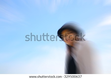 blur beautiful happy asian woman enjoying summer outdoors for lifestyle concept  - stock photo