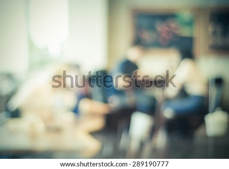 Blur cafe with people and bokeh light background, business concept - stock photo