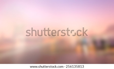 Blur City Background. Building, Ferris wheel and Beautiful Sky. - stock photo