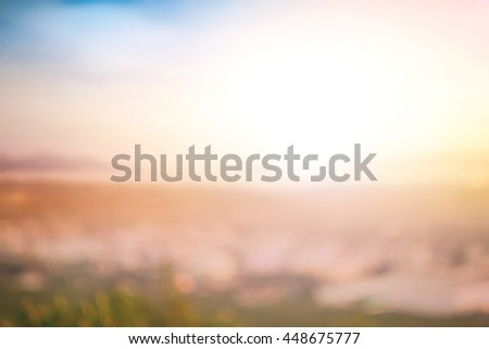 Blur City Cloud Color Hotel Blue Red Brown Orange Bridge Heaven Plan Urban View Vibrant Sea Riverside Sunny Park Tourism Dawn Sunlight Zen Valley Fresh Peace Bright Horizon Sand River Yesterday Flare - stock photo