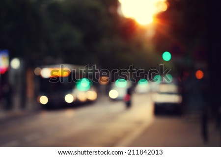 blur city sunrise abstract background - stock photo