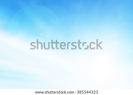 Blur clouds sky background. Soft focus blue sky white sunlight day time background. Abstract blurred of sunlight. Open view out windows. Cyan gradient. - stock photo