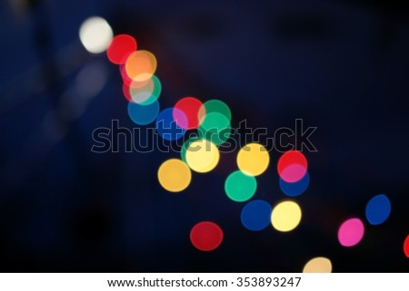 Blur colorful christmas lights bokeh background - stock photo