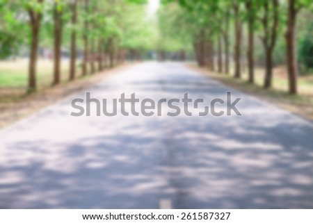 Blur Country road tunnel of green trees on sunlight with shadow on street in Nan city of Thailand. - stock photo