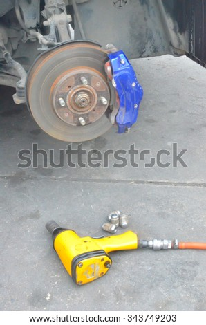 Blur equipment change tire backgrounds - stock photo