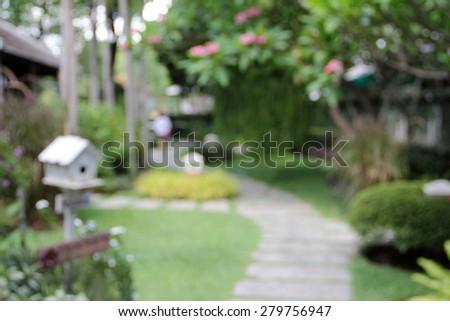 blur garden park bird home and walk way adstract background - stock photo