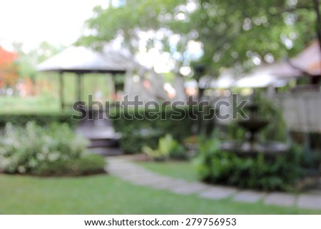 blur garden park nature tree and walk way adstract background - stock photo