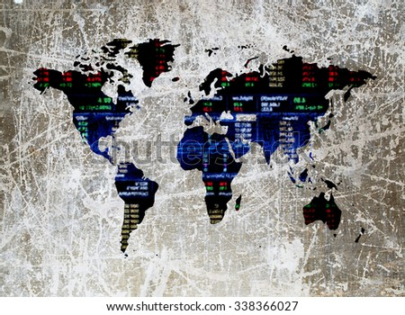 blur grunge image of stock market number in shape of world map - stock photo