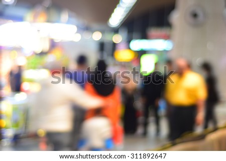 Blur image at departure area in Kuala Lumpur International Airport (KLIA). - stock photo