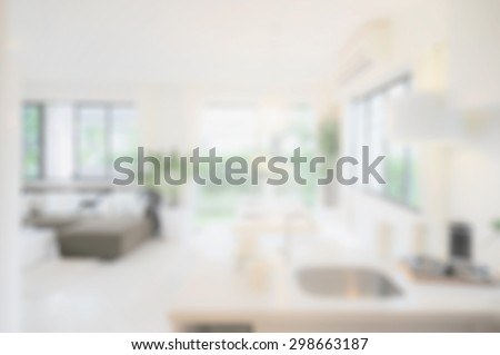 blur image of modern dining room interior. - stock photo