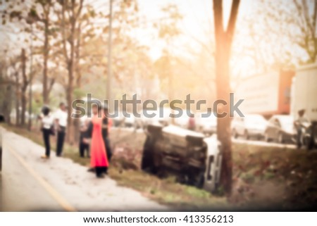 blur image of people in car accident area - stock photo